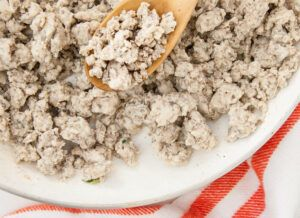 Ground Turkey meat on a plate